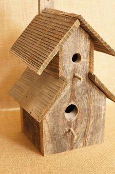 Large Rustic Barnwood / Barn wood Birdhouse by FestiveHomeDesigns, $34.00