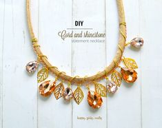 Cord and rhinestone statement necklace DIY - happy girly crafty