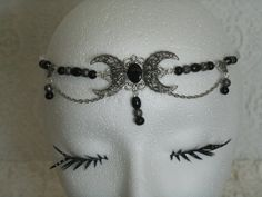 Black Onyx Triple Moon Circlet, wiccan jewelry pagan jewelry wicca jewelry goddess jewelry witch witchcraft headpiece metaphysical magic by Sheekydoodle on Etsy