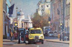 'Big Yellow Taxi, Pall Mall, London' Oil on canvas by Bruce Yardley (born 1962). Offered by John Robertson Fine Art at The Edenbridge Galleries, Kent. www.edenbridgegalleries.com