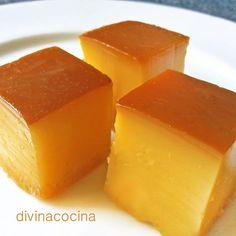 Este falso tocinillo de naranja se prepara sin huevos ni horno, con gelatina, en pocos minutos, y es delicioso. En lugar del zumo de naranja puedes usar otros zumos de frutas como piña, manzana... a tu gusto.: