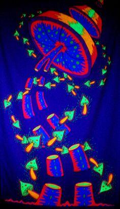 Magic Mushrooms -Blacklight- U by Trancestor on DeviantArt Trippy Mushrooms, Psychadelic Art, Psychedelic Drawings, Black Light Posters, Psy Art, Mushroom Art, Hippie Art, Hippie Vibes, Light Painting