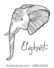 Elephant Head Hand Drawn Tangled Illustration Coloring Page For