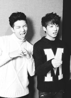 rap mon + jungkook BTS. Rapmon needs to go back to black hair