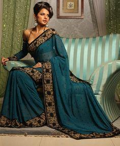 Deep Turquoise Saree