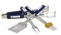DALLAS COWBOYS 4 PIECE BBQ SET by Siskiyou. $35.95. BSI Products, Inc has been manufacturing Premium Licensed Flag and Banner Products for the dedicated professional and collegiate fan since 1991.. Stainless Steel construction. Includes Fork, Tongs, Brush and Spatula. Tailgating never looked so good! This stainless steel BBQ set is a perfect way of showing your team pride on Game Day. Each utensil is printed with your favorite NFL team's artwork. The set inclu...