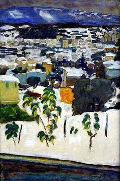 """""""vers le cannet sous la neige"""" [to Cannes in the snow] by Pierre Bonnard, 1927 Pierre Bonnard, Edouard Vuillard, Paul Gauguin, Painting Snow, Painting & Drawing, Winterthur, Landscape Art, Landscape Paintings, Landscapes"""