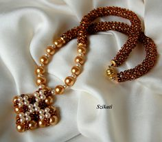 Beaded beige honey brown Right Angle Weave necklace, OOAK