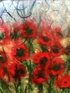 Jo Hannah. Flower 9. Encaustic, Gesso & Chine Colle, on wood.