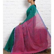 Aquamarine Green & Pink Mangalgiri Cotton Saree (100000029261)
