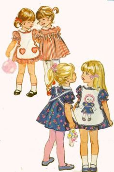 1970s Toddlers Dress and Apron Simplicity 9731 Vintage 70s Sewing Pattern Size 1 by sandritocat on Etsy