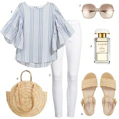 how to build summer wardrobe striped ruffle blouse white jeans summer outfit women casual espadrille sandals summer trends fashion Summer Outfits Women, Outfits For Teens, Trendy Outfits, Cute Outfits, Fashion Outfits, Ladies Fashion, Simple College Outfits, Womens Fashion, Spring Outfits