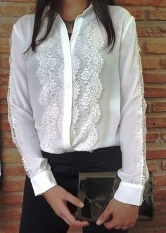 Chic and Fashionable With White Shirt Look Fashion, Fashion Outfits, Womens Fashion, Fashion Design, Blouse Styles, Lace Tops, Corsage, White Tops, Blouses For Women