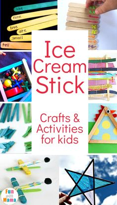 These Ice Cream Craft and Hands On Activity Ideas For Kids are inexpensive, fun and teach so many things to kids. These are perfect for fine motor skill practice, alphabet and sight word, counting and process art! via @funwithmama