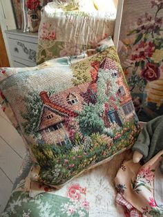 handmade cushion, made from vintage tapestry
