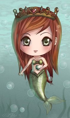 Chibi Mermaid by DovahLi on DeviantArt Mermaid Diy, Cute Mermaid, Vintage Mermaid, The Little Mermaid, Bratz, Fantasy Mermaids, Dibujos Cute, Kawaii Chibi, Merfolk