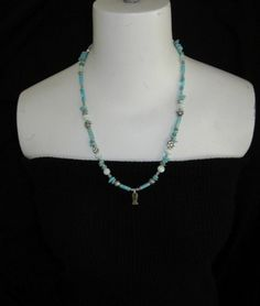 Womens Necklace Glass Stone Fish Charm Sea Foam One of a Kind $19.99