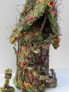 Pixie fairy house. Fairy house, fairy garden, indoor garden, fairy display, woodland, fairy furniture, one of a kind! by TinkerWhims on Etsy