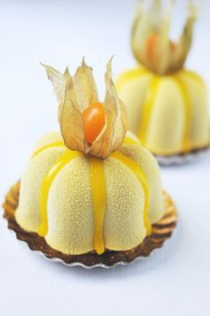 Mango dessert by Christophe Roussel Fancy Desserts, Just Desserts, Delicious Desserts, Dessert Recipes, Yummy Food, Fruit Dessert, Gourmet Desserts, Mini Cakes, Cupcake Cakes