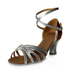 Leatherette  Upper Latin Dance Shoes Sliver Ballroom Practice Shoes for Women More Colors