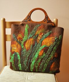 Orange Flowers Leaves Felted Bag Handbag Purse Felt by ShellenD