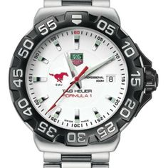 "Southern Methodist University TAG Heuer Watch - Men's Formula 1 Watch with Bracelet by TAG Heuer. $1495.00. Officially licensed by Southern Methodist University. Swiss-made Quartz movement.. Authentic TAG Heuer watch only at M.LaHart & Co.. TAG Heuer international two-year warranty. Unique TAG Heuer presentation box.. Southern Methodist University TAG Heuer men's Formula 1 watch brings sport and style to SMU by featuring the mustang logo with ""SMU"" below. Brushed and..."