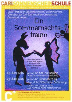 Aufführungsplakat Ein Sommernachtstraum. Zettel als Esel, Titania und Puck.