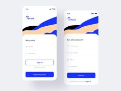 Tenant app Assignment (Login+Create account) by Prakhar Neel Sharma on Dribbble App Ui Design, Mobile App Design, Email Design, Mobile Ui, Interface Design, App Login, Create Account, App Design Inspiration, Music App