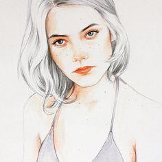 "1,584 Likes, 8 Comments - Yuriy Strigul (@onyxkawai) on Instagram: """"La desazón se va a llevar en esta temporada."" Beautiful portrait of Mireia Oriol @eionam drawn by…"""