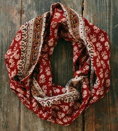 Maroon Prairie Lightweight Infinity Scarf by Maelu available at Withal now. Daily Fashion, Fashion Beauty, Womens Fashion, Jeweled Shoes, Perfect Wardrobe, How To Wear Scarves, Boho, Winter Wear, Scarf Styles