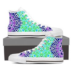 Turquoise Blue Cheetah Pattern Canvas Hightop Shoes