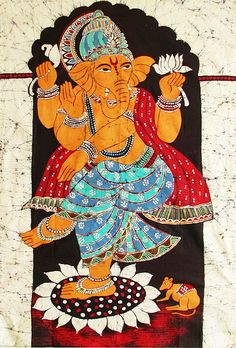 Dancing Ganesha (Batik Painting on Cotton Cloth - Unframed))