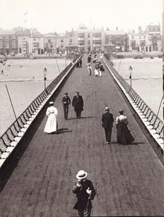 """amateurcasualvictorianist: """"The Pier, Deal, Kent, 1899 Pier's are quintessentially Victorian, as are most British seaside towns. Other than the dress of the pedestrians strolling here there's not much. Victorian Street, Victorian Life, Old Pictures, Old Photos, Vintage Photographs, Vintage Photos, Kent Coast, Victoria Reign, Seaside Holidays"""