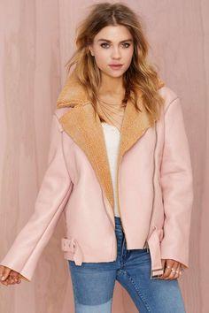 Glamorous Over Shearer Vegan Leather Jacket
