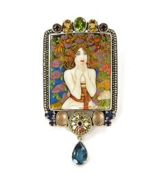 Russian Minture Mucha Painting & Gemstones Pin - Pendant by Amy Kahn Russell