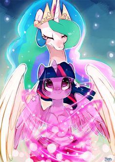 Princess Celestia and Twilight Sparkle My Little Pony Twilight, Mlp My Little Pony, My Little Pony Friendship, Princesa Twilight Sparkle, Raimbow Dash, Princesa Celestia, Imagenes My Little Pony, Little Poni, My Little Pony Drawing