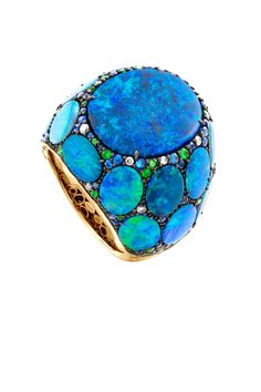 A black opal and colored stone ring by John Hardy.
