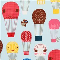 light blue hot-air balloon and bird fabric Robert Kaufman -- for kids curtains