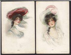 2-Artist-Art Nouveau-Pretty Women-Hat-Bess-Jean-Detroit Pub-Antique Postcard Lot