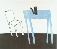 Klaas Gubbels - Witte stoel met blauwew rafel 1999. Het MMKA gaf kaarten weg bij een museumbezoek. Kreeg ik net een kaart van Klaas Gubbels met objecten er op die voor een tof groep 3 project, in Museum Jan Cunen, levens groot van karton waren nagemaakt. Deze afbeelding mag daarom in het grote inspiratie project.