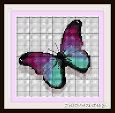 Cruz puntada patrón violeta papillon Instant por NeniDesign
