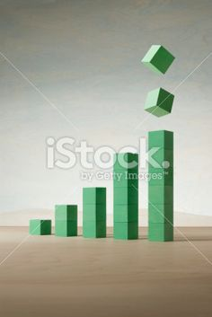 Bar Graph made of wooden blocks.