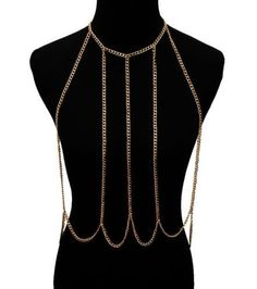 Gold LINK CHAIN MULTI-LAYERED BODY CHAIN Statement CHUNKY Metal Celeb Inspd