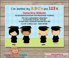 Free 4 different styled graduation invitations to use to invite your preschool graduation v1 party invitation diy printable digital invitation filmwisefo Images