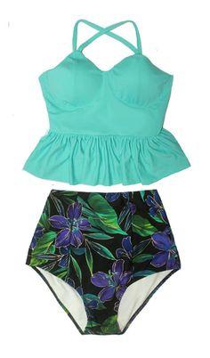 Mint Long Peplum Tankini Top and Paisley Flora Luxury High Waisted Waist High-waisted Swimsuit Swimwear Bikini Bathing Swim suit S M L XL by venderstore on Etsy
