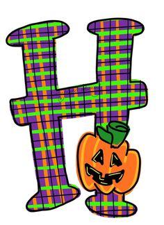 Letter H with Pumpkin Fall/Thanksgiving/Halloween whimsical Halloween Letters, Halloween Frames, Halloween House, Halloween Art, Christmas Letters, Whimsical Fonts, Door Hanger Template, Alphabet Print, Halloween Clipart