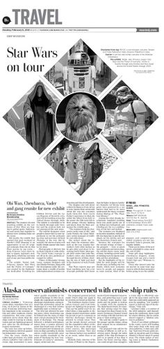 Star Wars on tour #Newspaper #GraphicDesign #Layout #StarWars #Museums #Travel