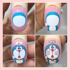 Cat Nail Art, Animal Nail Art, Cat Nails, Nail Art Diy, Cartoon Nail Designs, Animal Nail Designs, Nail Art Designs, Nail Designs Easy Diy, Pretty Nail Designs