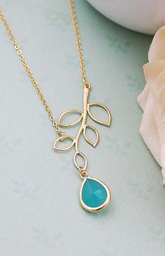 Simple twig and mint opal glass necklace branch