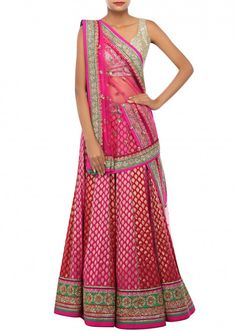 Rani pink and fuschia shaded lehenga embellished in brocade only on Kalki